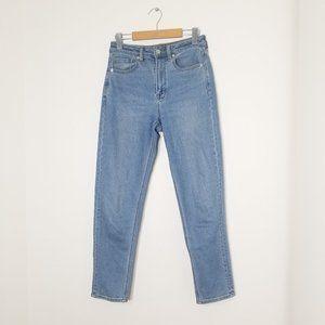 American Eagle | Mid Wash Denim Blue Mom Jeans Stretch Regular High Rise Ankle 2